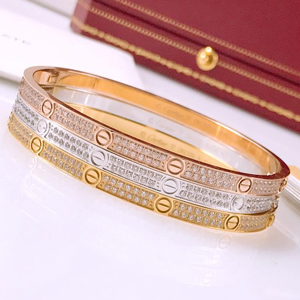Cartier LOVE bracelet, small model, pave diamonds - yellow gold, pink gold, white gold